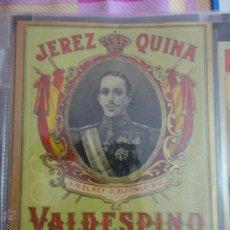 Etiquetas antiguas: ETIQUETA JEREZ QUINA S. M. EL REY D. ALFONSO XIII VALDESPINO JEREZ. Lote 51445992