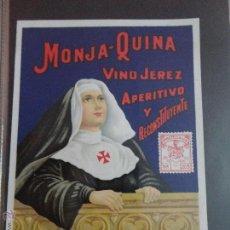 Etiquetas antiguas: ETIQUETA MONJA QUINA VINO JEREZ APERITIVO Y RECONSTITUYENTE 9 CM X 13 CM. Lote 51478439