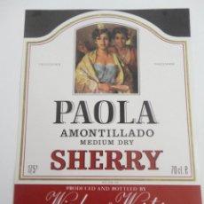 Etiquetas antiguas: ETIQUETA PAOLA AMONTILLADO MEDIUM DRY SHERRY 70 CL. Lote 57443531