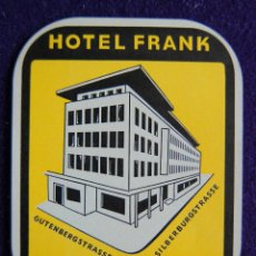 Etiquetas antiguas: ANTIGUA ETIQUETA. HOTEL FRANK. STUTTGART. ALEMANIA. AÑOS 40-50. (GERMANY). Lote 51809059