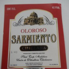 Etiquetas antiguas: ETIQUETA OLOROSO SARMIENTO CHICLANA POLANCO. Lote 51883706