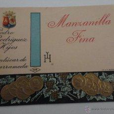 Etiquetas antiguas: ETIQUETA MANZANILLA FINA PEDRO RODRIGUEZ E HIJOS SANLUCAR DE BARRAMEDA. Lote 51884452