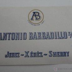 Etiquetas antiguas: ETIQUETA ANTONIO BARBADILLO S. A.. JEREZ- XEJER- SHERRY. Lote 51884744