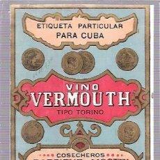 Etiquetas antiguas: ETIQUETA DE VINO VERMOUTH. COSECHEROS RARSIENE Y MOSTRI. CUBA.. Lote 52341609