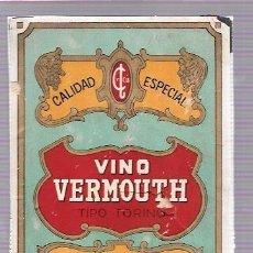 Etiquetas antiguas: ETIQUETA DE VINO VERMOUTH. BODEGAS EL BOSQUE. HABANA, CUBA.. Lote 52356494