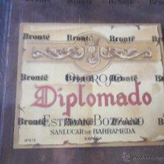 Etiquetas antiguas: OLOROSO DIPLOMADO ESTEBAN BOZZANO SANLÚCAR DE BARRAMEDA ETIQUETA. Lote 52474817