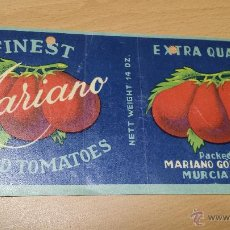 Etiquetas antiguas: ANTIGUA ETIQUETA TOMATES MARIANO MURCIA. Lote 52658335