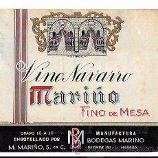 Etiquetas antiguas: ETIQUETA DE VINO NAVARRO. MARIÑO. FINO DE MESA. HABANA, CUBA.. Lote 52726263