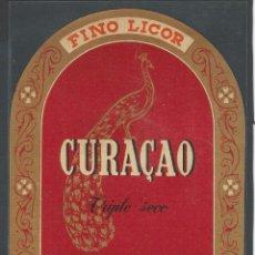 Etiquetas antiguas: CURAÇAO - DESTILERÍAS J.SELGA TORRAS - MANRESA - 11 X 14 CM. Lote 52824914