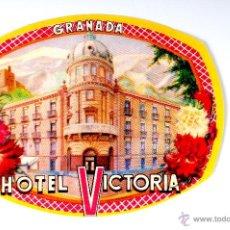 Etiquetas antiguas: ETIQUETA HOTEL VICTORIA GRANADA. Lote 52840577