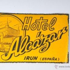 Etiquetas antiguas: ETIQUETA HOTEL ALCAZAR IRUN. Lote 52861082