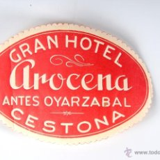 Etiquetas antiguas: ETIQUETA GRAN HOTEL AROCENA CESTONA. Lote 52861568