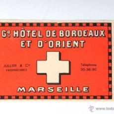 Etiquetas antiguas: ETIQUETA G. HOTEL DE BORDEAUX ET D'ORIENT MARSEILLE. Lote 52861689