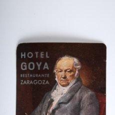 Etiquetas antiguas: ETIQUETA HOTEL GOYA RESTAURENTE ZARAGOZA. Lote 52861878