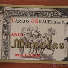 Etiquetas antiguas: ANTIGUA ETIQUETA LITOGRAFIA ANIS MANOLAS MALAGA BODEGAS KRAUEL EN PERFECTO ESTADO. Lote 203773337