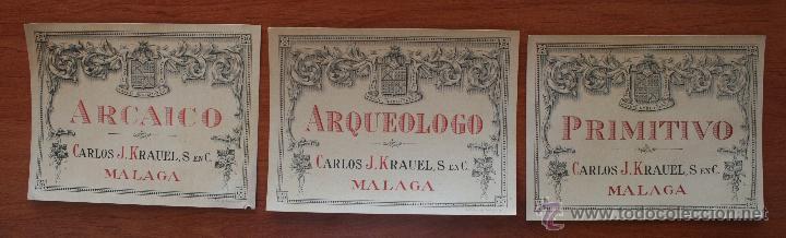 ARCAICO ARQUEOLOGO PRIMITIVO: 3 ANTIGUAS LITOGRAFIAS ETIQUETAS BODEGAS VINOS Y LICORES KRAUEL MALAGA (Coleccionismo - Etiquetas)