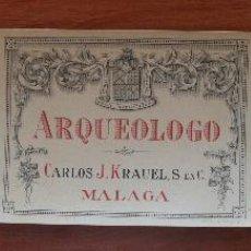 Etiquetas antiguas: ARCAICO ARQUEOLOGO PRIMITIVO: 3 ANTIGUAS LITOGRAFIAS ETIQUETAS BODEGAS VINOS Y LICORES KRAUEL MALAGA. Lote 141666654