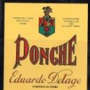 Etiquetas antiguas: ET0048, ETIQUETA DE PONCHE, EDUARDO DELAGE JEREZ.. Lote 53162419