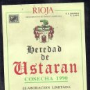 Etiquetas antiguas: ET0062, ETIQUETA DE VINO, HEREDAD DE USTARAN, COSECHA 1990, RIOJA.. Lote 53162460