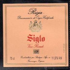 Etiquetas antiguas: ET0126, ETIQUETA DE VINO, SIGLO, VINO ROSADO, RIOJA.. Lote 53162626