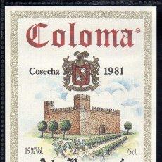 Etiquetas antiguas: ET0153, ETIQUETA DE VINO, COLOMA, AL-RUWUYA, COSECHA 1981, BADAJOZ.. Lote 53192670