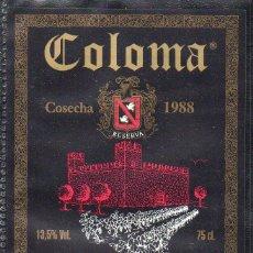 Etiquetas antiguas: ET0181, ETIQUETA DE VINO, COLOMA, TORRE-BERMEJA, COSECHA 1988, BADAJOZ.. Lote 53192681