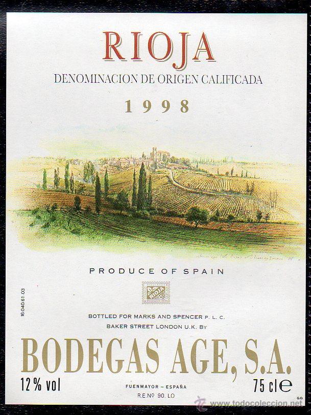 ET0183, ETIQUETA DE VINO, BODEGAS AGE, FUENTEMAYOR, COSECHA 1998, D.O. RIOJA. (Coleccionismo - Etiquetas)