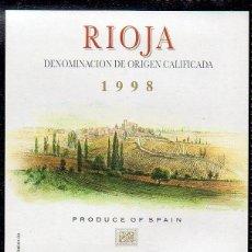 Etiquetas antiguas: ET0183, ETIQUETA DE VINO, BODEGAS AGE, FUENTEMAYOR, COSECHA 1998, D.O. RIOJA.. Lote 53192684