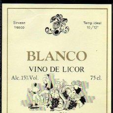 Etiquetas antiguas: ET0193, ETIQUETA DE VINO, VINO LICOR, BLANCO, BODEGAS MARBEL, SANTANDER.. Lote 53192702