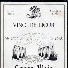 Etiquetas antiguas: ET0194, ETIQUETA DE VINO, VINO LICOR, CASCO VIEJO, BODEGAS MARBEL, SANTANDER.. Lote 53192703