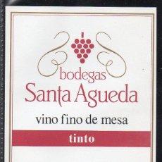 Etiquetas antiguas: ET0197, ETIQUETA DE VINO, BODEGAS SANTA AGUEDA, TINTO.. Lote 53192707
