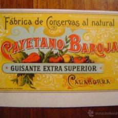 Etiquetas antiguas: ETIQUETA FABRICA DE CONSERVAS - CAYETANO BAROJA - CALAHORRA - 1899 - GUISANTE EXTRA - LITOGRAFIA. Lote 53401235