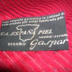 Etiquetas antiguas: ANTIGUA ETIQUETA DE PELETERIA S.A.ESPAÑA PIEL.MADRID. Lote 210115920