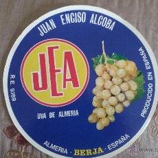 Etiquetas antiguas: ANTIGUA ETIQUETA BARRILES DE UVAS JEA BERJA ALMERIA 24CM DE DIÁMETRO - ORIGINAL -. Lote 54168892