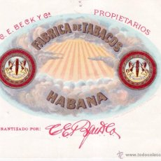 Etiquetas antiguas: ETIQUETA FABRICA DE TABACOS HABANA . Lote 54213885