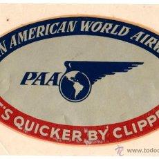 Étiquettes anciennes: ETIQUETA COMPAÑIA AEREA PAN AMERICAN WORLD AIRWAYS. ADHESIVA. Lote 54694567