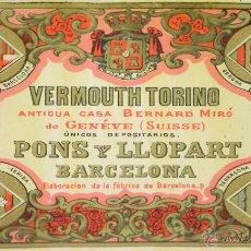 Etiquetas antiguas: LOTE DE 9 ETIQUETAS DE VERMOUTH TORINO. PONS Y LLOPART. BARCELONA. SIGLO XIX.. Lote 49424667