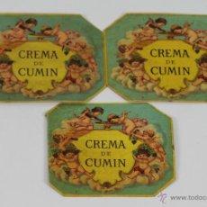 Etiquetas antiguas: COLECCION DE 3 ETIQUETAS DE CREMA DE CUMIN. AÑOS 20.. Lote 49425002