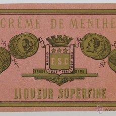 Etiquetas antiguas: LOTE DE 3 ETIQUETAS DE CREMA DE MENTA SUPERFINA. FRANCIA. SIGLO XX.. Lote 49426175