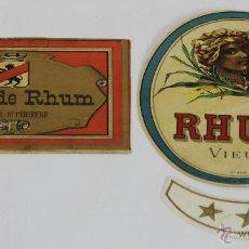 Etiquetas antiguas: LOTE DE 2 ETIQUETAS DE RON Y CREMA DE RON FRANCES. SIGLO XX.. Lote 49426323
