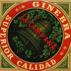 Etiquetas antiguas: LOTE DE 4 ETIQUETAS. GINEBRA SUPERIOR CALIDAD. LA CAMPANA. SIGLO XX.. Lote 49428381