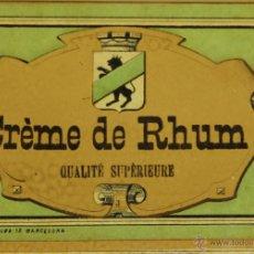 Etiquetas antiguas: LOTE DE 4 ETIQUETAS. CREMA DE RON. LIT. RIERA. BARCELONA. SIGLO XX.. Lote 49428493