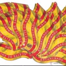 Etiquetas antiguas: LOTE DE 17 ETIQUETAS DE ACEITE DE ANIS ESCARCHADO. 16 X 7 CM.. Lote 54894952
