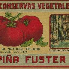 Etiquetas antiguas: ETIQUETA FÁBRICA DECONSERVAS VEGETALES A VAPOR (MANACOR). Lote 288381018