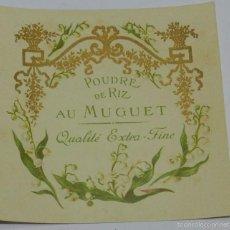 Etiquetas antiguas: ETIQUETA DE PERFUMERIA POUDRE DE RIZ. AU MUGUET, MODERNISTA. ART NOUVEAU PERFUM LABEL, ETIQUETTE DE . Lote 56145264