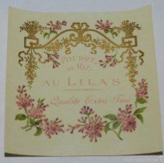 Etiquetas antiguas: ETIQUETA DE PERFUMERIA POUDRE DE RIZ. AU LILAS, MODERNISTA. ART NOUVEAU PERFUM LABEL, ETIQUETTE DE P. Lote 182134803