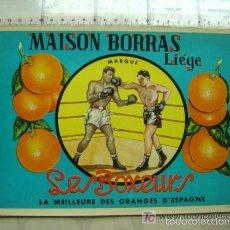 Etiquetas antiguas: 25 ETIQUETAS DE NARANJAS - MAISON BORRAS LIEGE - LES BOXEURS, BOXEO. Lote 205147687
