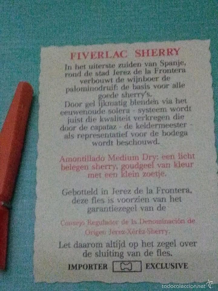 FIVERLAC SHERRY. AMONTILLADO MEDIUM DRY. (Coleccionismo - Etiquetas)