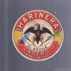 Etiquetas antiguas: ETIQUETA. HARINERA. A. CASTRO. CADIZ. MARCA EL AGUILA. 12CM DIAMETRO. CON CENSURA. Lote 56914971