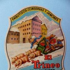 Etiquetas antiguas: RARA Y ANTIGUA ETIQUETA, EL TRINEO, HIJO DE M. PUIGVERT, OLOT GERONA, EMBUTIDOS CONSERVAS Y JAMONES. Lote 57097753